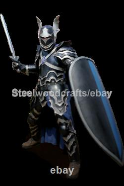 18 Gauge Steel Medieval Gothic Knight Full Body Suit Of Armor Larp Costume Black