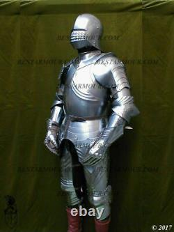 18GA SCA LARP 15ct Medieval Armor Gothic Full Suit Armor Knight Sallet Helmet