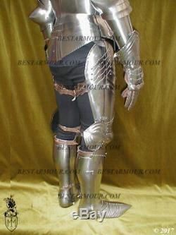 18GA SCA LARP Medieval Armor Gothic Full Suit Armor Knight Sallet Helmet BS276
