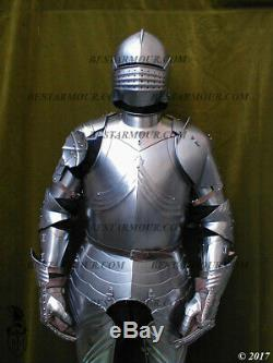 18GA SCA LARP Medieval Armor Gothic Full Suit Armor Knight Sallet Helmet BS285