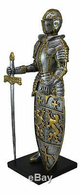 21H Large Medieval Suit Of Armor Knight With Sword And Heraldry Shield Statue