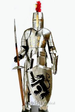 6 feet Medieval Knight Suit Of Full Body Crusader Armor Steel Templar Combat
