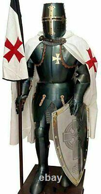 Antique Medieval Knight Crusader Templar Suit of Armor Wearbale Costume Silver
