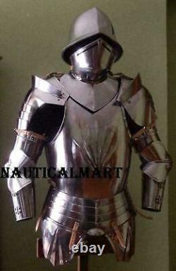Antique Medieval Knight Warrior Spanish Half Suit Of Armor Cuirass Morion Helmet