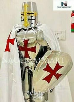 Armour Brass Wearable Medieval Knight Suit Of Crusader Battle Combat Full Body