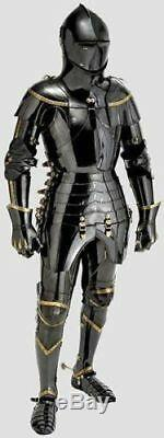 Black Armor Steel Medieval Knight Suit Of Armor Combat Full Body Armor
