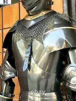 Black Knight Medieval 14th Century Churburg Half Suit of Armor Wearable Costume