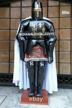 Black Medieval Full Suit of Crusader Armor LARP Costume Replica