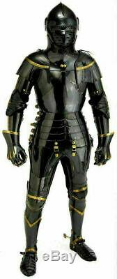 Black Medieval Knight Suit Of Armor Combat Full Body Armour Costume Reenactment