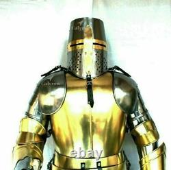 Brass Wearable Medieval Knight Suit Of Armor Crusader Gothic Full Body Templar