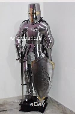 Crusader Knight Templar Wearable Suit Of Armour WithSword, Shield, Wooden Stand