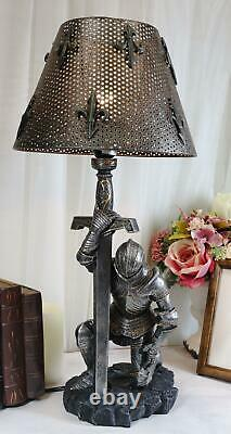 Ebros The Accolade Medieval Kneeling Knight Suit of Armor 22.5H Table Lamp