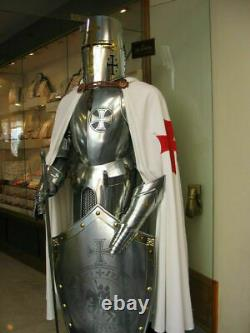 Full Body Costume Steel Medieval Armor Knight Crusader Suit Armour Sword Shield