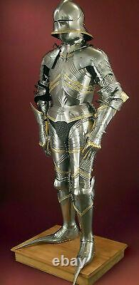 Full Body Medieval German Gothic 15th Century Knight Armour Suit Halloween Gift