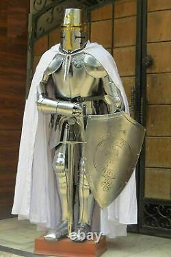 Full Size Body Suit Medieval Crusader Knight in Suit of Armor & Shield handmade