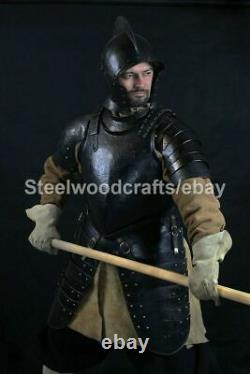 Hammered Steel Medieval Knight French Half Body Armor Suit Warrior Armor