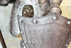 Hand-Made Iron European Medieval Knight Crusader in Full Suit of Armor 6.5