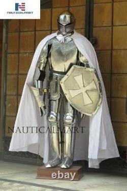 Knight Suit of Armor Medieval Interior Decor Armor Suit Sword Shield Steel 6 Ft
