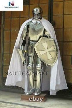 Knight Suit of Armor Medieval Interior Decor Armor Suit Sword Shield Steel 6 Ftt