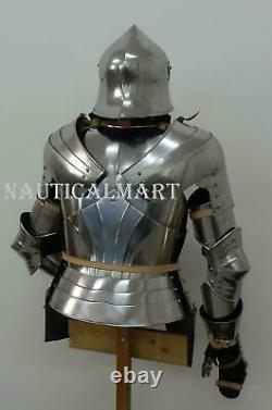 Knight Suit of Armour Wearable Reenactment Breastplate with Helmet without stand