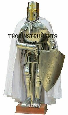 Knight Templar Suit of Armor Crusader Halloween Armour Costume- Shield & Sword