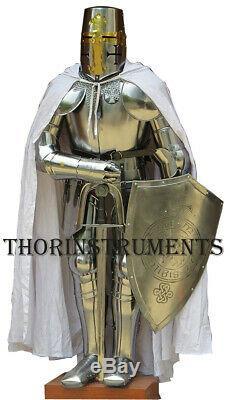 Knight Templar Suit of Armor Crusader Renaissance Armour Costume- Shield & Sword