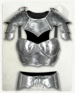 LARP 18GA Steel Medieval Knight Queen Lady Woman Half Body Armor Armor Suit