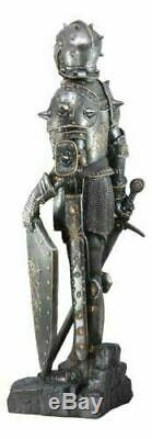 Large 28H Medieval Suit of Armor Knight Swordsman With Lion Heraldry Statue