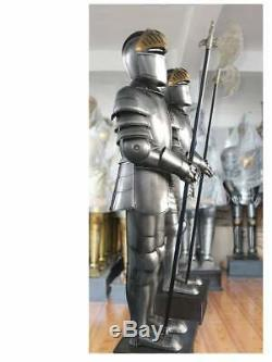 Medieval 17th Century Crusader Knight Full Size Suit of Armor with Battle AX Bod