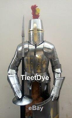 Medieval Armour Knight Crusader Full Suit Of Armor Collectible Costume