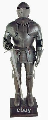 Medieval Black Knight Suit of Armor Full Size Aged Finish Reenactment Replica