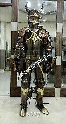 Medieval Brass Knight Suit Of Full Body Armour Templar Cosplay Costume Shield
