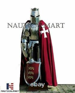 Medieval Brass Knight Suit Of Full Body Armour Templar Costume Red Shield Sword