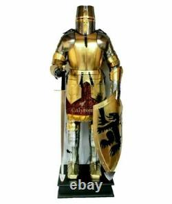 Medieval Brass Wearable Knight Suit Of Armor Crusader Gothic Full Body Armor