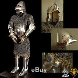 Medieval Churburg Full Suit of Armor Knight Crusader Bascinet Armor