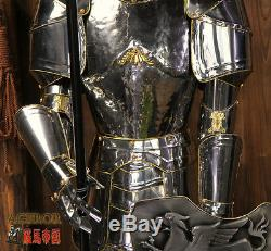 Medieval Crusader Knight in Suit of Armor & Spear & Shield Full Size Body Suit