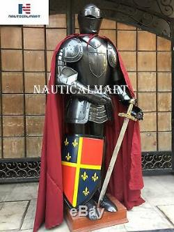 Medieval Epic Black Knight Medieval Suit of Armor with Shield, Sword, Cloak