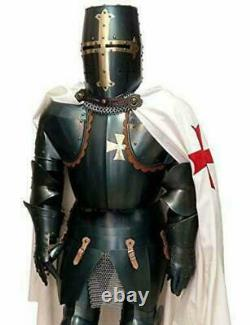 Medieval Full Black Steel Templar Knight Suit of Armour Wearable Costume