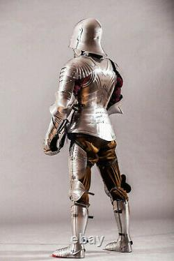 Medieval Full Body Knight Arm Gothic Armor Suit with Axe spears Battle Warrior