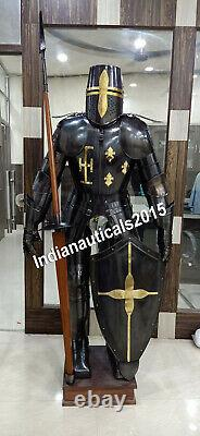 Medieval Full Suit of Armor Dark Knight Wearable Halloween Costume