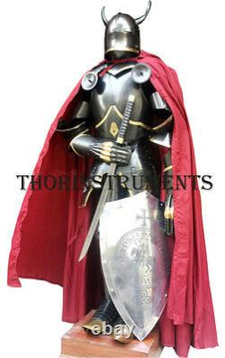 Medieval Full Suit of Armor Wearable Knight Gothic Suit with Horns, Shield, Sword