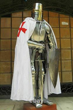 Medieval Gothic Knight Suit Of Armor Full Body Armour Wearable Shield Sword Cape