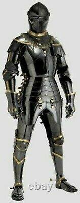 Medieval Knight Black Suit of Steel Armor Combat Full Body Halloween Armor