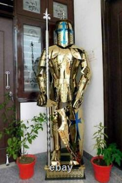 Medieval Knight Brass Wearable Steel Suit Of Armour Crusader Helmet Full Body