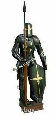 Medieval Knight Brass Wearable Suit Of Armour Crusader Combat Full Body Costume