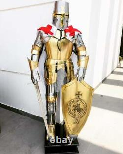 Medieval Knight Full Suit Of Armor Full Body Armor Suit Gold Finish With Stand