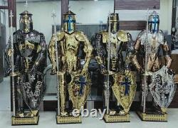 Medieval Knight Full Suit of Armor Templar Crusader Stainless Steel Set of 4