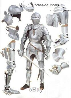 Medieval Knight German Armour Suit Battle Warrior Armour Suit 18 Gauge Steel