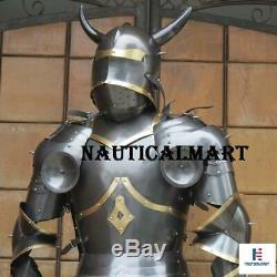 Medieval Knight Half Suit of Armor with Horns