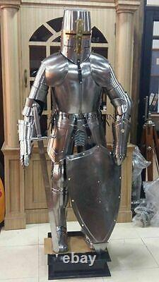 Medieval Knight Knight Suit Of Armor Templar Combat Full Body Stand Shield Prop